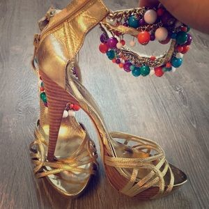 Bebe Gold Strappy Beaded Anklet Heels Size 10
